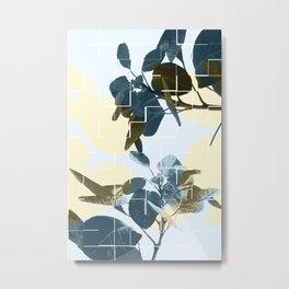 Tropical Leaves Blue Metal Print