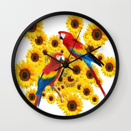 RED  & BLUE MACAWS LOVE YELLOW SUNFLOWERS ART Wall Clock