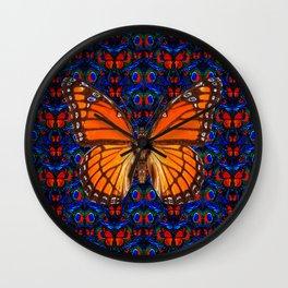 ORANGE BUTTERFLIES  & DARK BLUE ART PATTERN Wall Clock