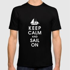 Keep Calm and Sail On Mens Fitted Tee Black LARGE