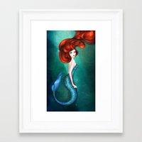 mermaid Framed Art Prints featuring Mermaid by Annya Kai