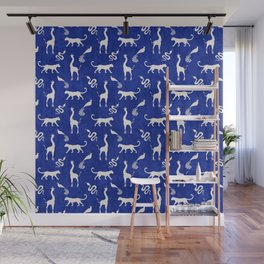 Animal kingdom. Black silhouettes of wild animals. African giraffes, leopards, cheetahs. snakes, exotic tropical birds. Tribal primitive ethnic nature navy grunge distressed pattern. Wall Mural