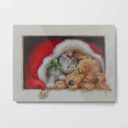 Cute pets Dog and Cat sleeping in the Santa's hat Christmas illustration Metal Print