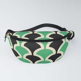 Classic Fan or Scallop Pattern 447 Black and Green Fanny Pack