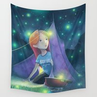 fireflies Wall Tapestries featuring Camping with fireflies by Jeremy Parigi