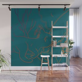A Mothers Love - Fox Cub Vector Hand Drawn in Green Wall Mural