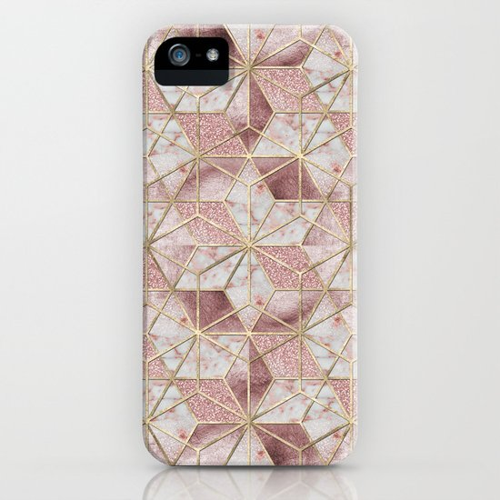 Modern rose gold geometric star flower pattern by inovarts