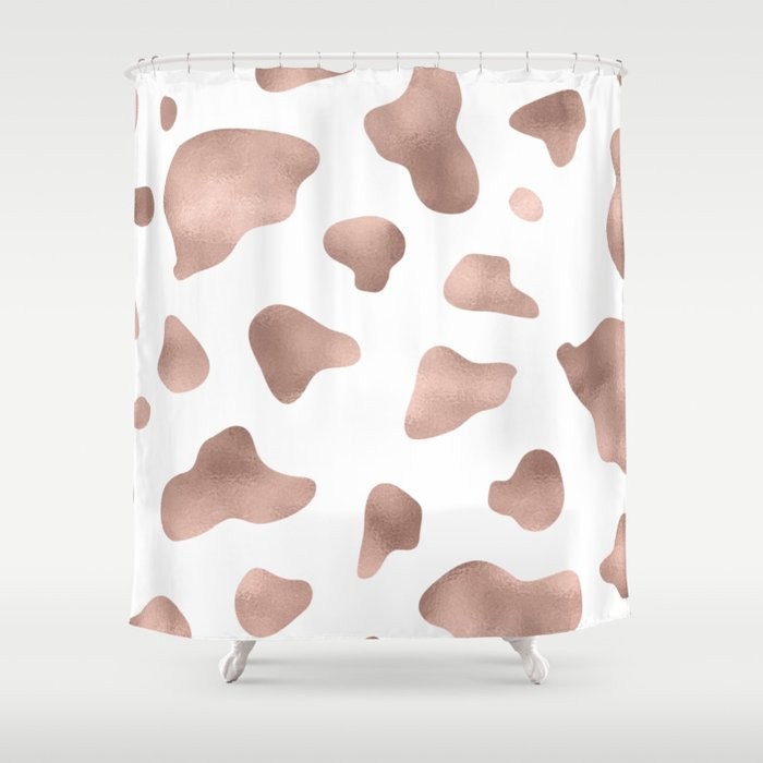 Rose Gold Cow Print Shower Curtain By Peggieprints