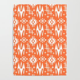 Mid Century Modern Atomic Space Age Pattern Orange Poster