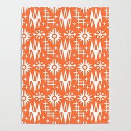 Mid Century Modern Atomic Space Age Pattern Orange Poster