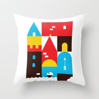 castle Throw Pillows featuring Castle by koivo