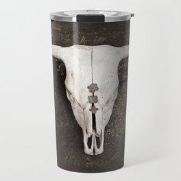 Sepia Brown Cow Skull Travel Mug