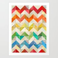 quilt Art Prints featuring Chevron Rainbow Quilt by Rachel Caldwell