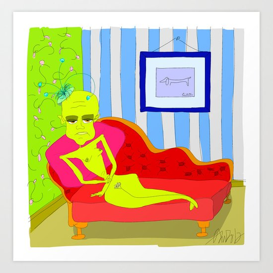 """Stealing Matisse"" (Picasso Watching) Art Print"