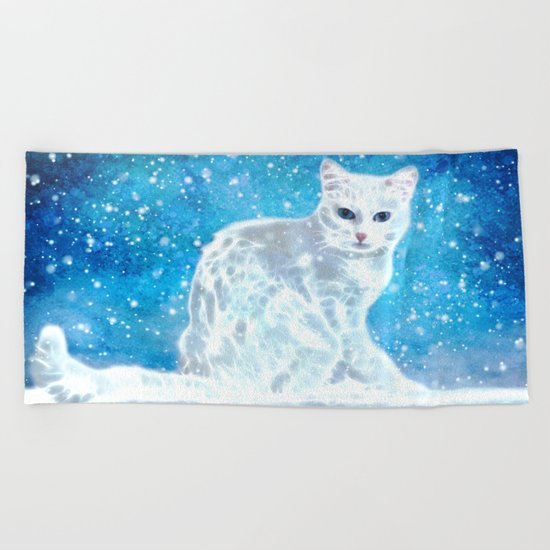 Abstract white cat Beach Towel