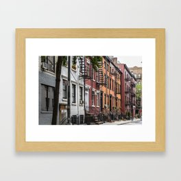 Picturesque street view in Greenwich Village, New York Framed Art Print