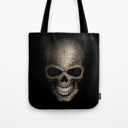 Decorated Dark Day of the Dead Sugar Skull Tote Bag