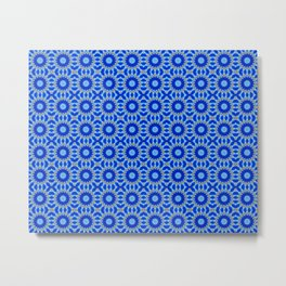 Blue and Yellow Circle Repeating Pattern Metal Print