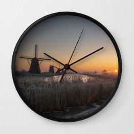 Kinderdijk Sunrise Wall Clock