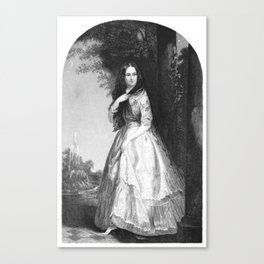 black and white picture of a victorian women Canvas Print
