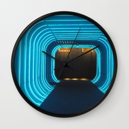 blue neon of NEW YORK Wall Clock
