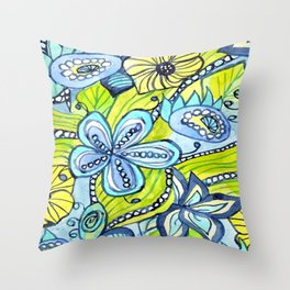 Turquoise, Yellow, and Green Floral Throw Pillow