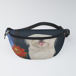 Cute little havanese puppy with flowers Fanny Pack