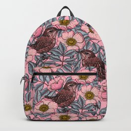Wrens in the roses Backpack
