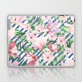 Modern blue white stripes blush pink green watercolor floral Laptop & iPad Skin