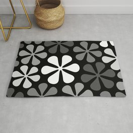 Abstract Flowers Monochrome Rug
