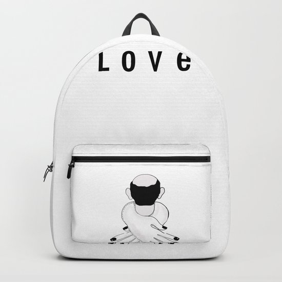 love . woman hugging man Backpack