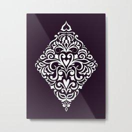 white damask rhombus Metal Print