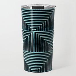 Mesmerizing Squares Ice Blue - Art Deco Pattern Travel Mug