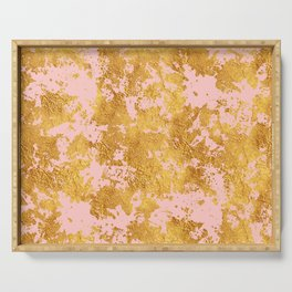 Luxury Marble and Gold Textures on Pastel Pink Serving Tray