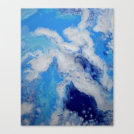 Caribbean Blue Fluid Turquoise Navy White Abstract Painting Canvas Print