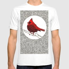 A Red Cardinal Mens Fitted Tee White MEDIUM