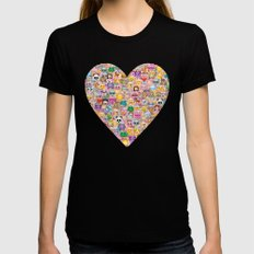 emoji / emoticons Black SMALL Womens Fitted Tee