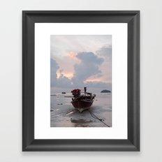 sunrise boat Framed Art Print