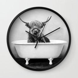 Highland Cow in a Vintage Bathtub (bw) Wall Clock
