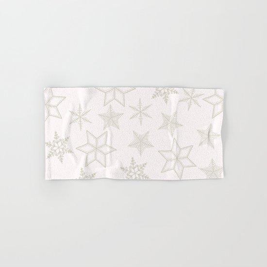 Beige Snowflakes on white background Hand & Bath Towel