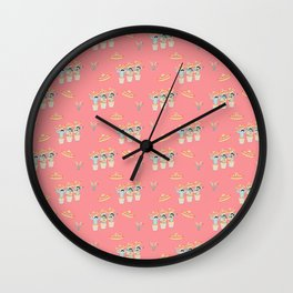 Fiesta!! Fun Mariachi Cactus Band on Soft Red Wall Clock