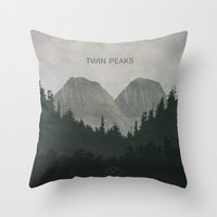 twin peaks Throw Pillows featuring Twin Peaks by avoid peril