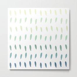 Abstract Green Pastel Raindrops Metal Print