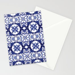 Portuguese Tiles Azulejos Blue and White Pattern Stationery Cards