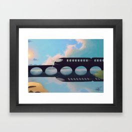 Sunset by the Train Framed Art Print