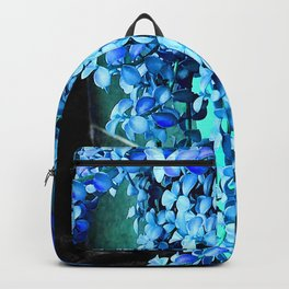 Periwinkle Blue Flowers Cascading Down Green Planter Backpack