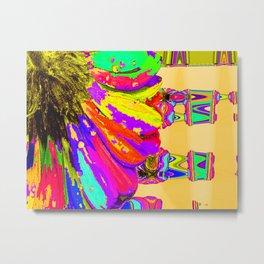 Rainbow Abstract Daisy Metal Print
