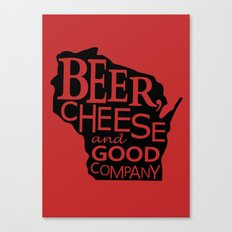 Red and Black Beer, Cheese and Good Company Wisconsin Graphic Canvas Print