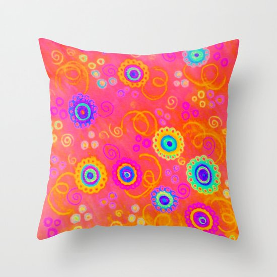 SWIZZLE STICK - Sweet Cherry Red Fruity Candy Swirls Abstract Watercolor Painting Feminine Art Throw Pillow