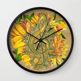 Treble Clef on Yellow  Flowers Vintage Notes paper Wall Clock